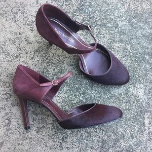 Enzo Angiolini Maroon Berry Suede Mary Jane Pumps